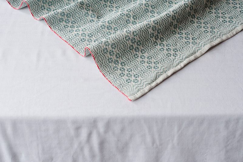 overshot handwoven tea towel