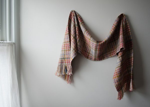 Extra Feet Scrap Scarf weaving eBook sample hanging on the wall