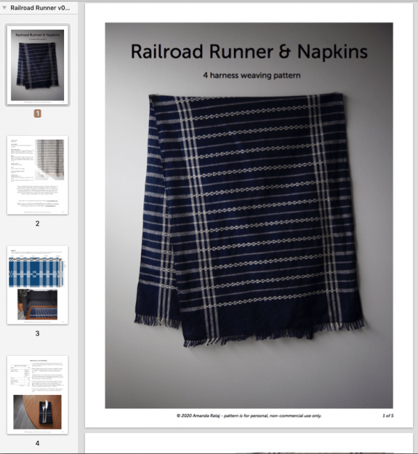 Railroad Runner & Napkins weaving pattern PDF screenshot