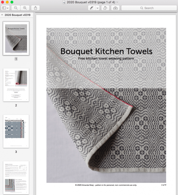 Bouquet Kitchen Towel FREE weaving pattern screenshot