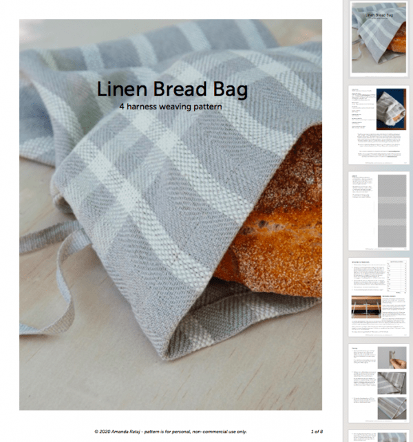 Linen Bread Bag weaving pattern PDF